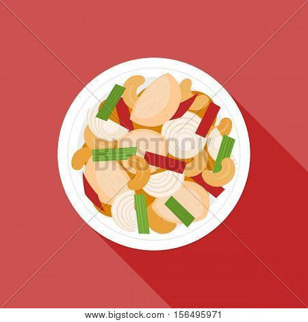 Chicken fried with cashew nuts, Thai cuisine, Malaysia cuisine, Chinese cuisine, flat design vector