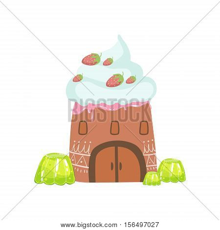 Tower Made Of Candy, Whipped Cream And Jelly Fantasy Candy Land Sweet Landscape Element. Illustrations From Girly Magic Sweet Land Design Set For Video Game Landscaping.
