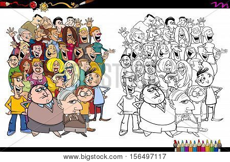 Cartoon Illustration of People in the Crowd Coloring Book Activity