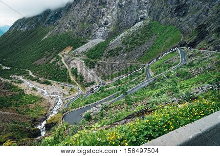 View of the trolls path in Norway with its serpentine road.