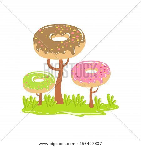 Three Chocolate Trees With Dnut Crowns Fantasy Candy Land Sweet Landscape Element. Illustrations From Girly Magic Sweet Land Design Set For Video Game Landscaping.
