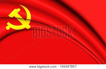 Flag Of Chinese Communist Party. 3D Illustration.