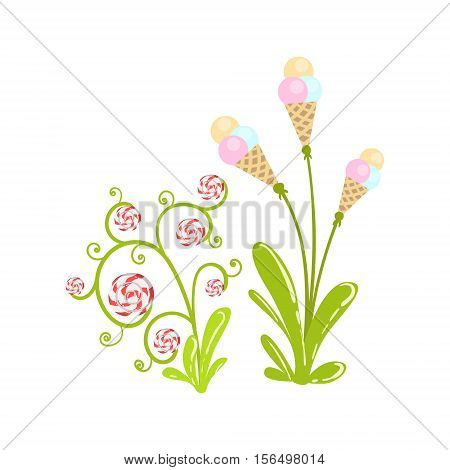 Ice-Cream And Hard Candy Flowers Fantasy Candy Land Sweet Landscape Element. Illustrations From Girly Magic Sweet Land Design Set For Video Game Landscaping.