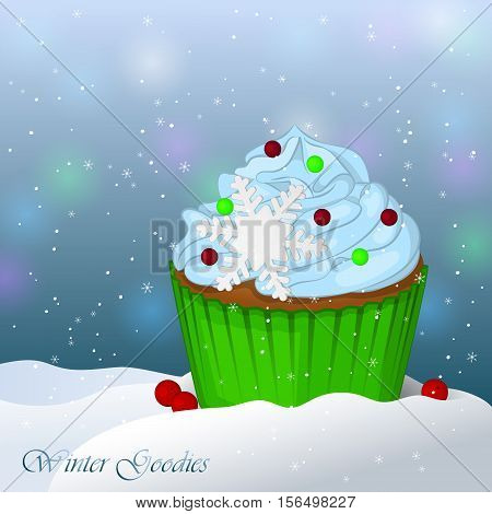Sweet and delicious Christmas cupcake in snow. Winter Goodies. Simple cartoon style. Vector illustration. New Year Collection.