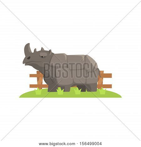 Grey Rhinoceros Standing On Green Grass Patch In Open Air Zoo Enclosure. Wild Animal Enclosed In Outdoor Zoological Park Funky Style Illustration On White Background.