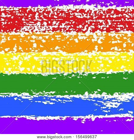 Vector grunge hand drawn colorful abstract stripe seamless pattern. LGBT, gay and lesbian pride rainbow texture. Vector symbol of gay pride design element.