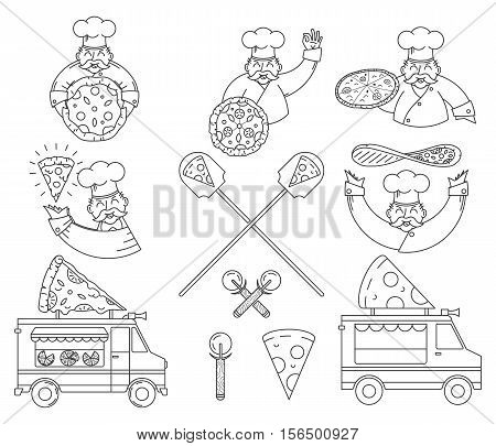 Vector black and white pizza bundle for any use