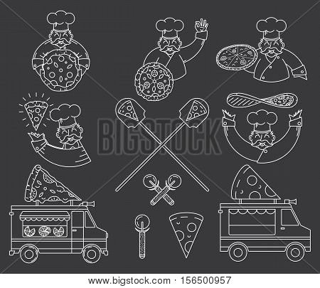 Vector white on black Pizza bundle for any use