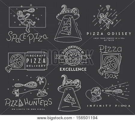 Vector space pizza hunters concept for any use
