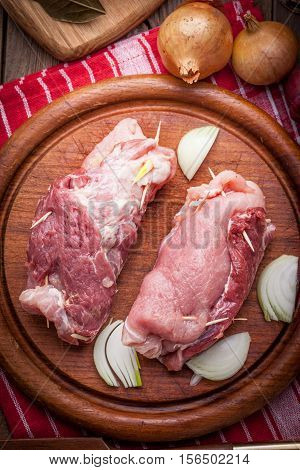 Raw Beef Roulades Prepared For Frying.