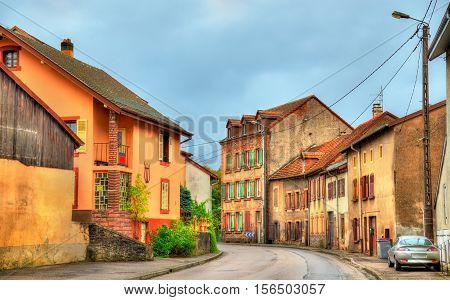 Traditional houses in La Petite-Raon, a village in the Vosges Department - France, Grand Est Region