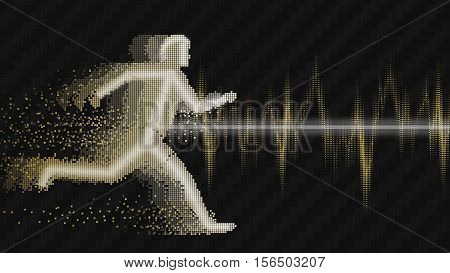 Sound waves oscillating glow, white gold light. Electrocardiogram with man  Concept  abstract technology background , vector illustration
