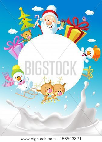 Merry Christmas frame design with Santa Claus Sleigh Christmas Tree Snowman and Cute Animal and milk splash