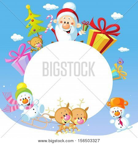 Merry Christmas frame design with Santa Claus Sleigh Christmas Tree Snowman and Cute Animal