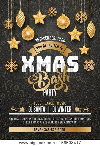 Elegant and luxury template design for Christmas party. Vector stock illustration. Elements are layered separately in vector file.