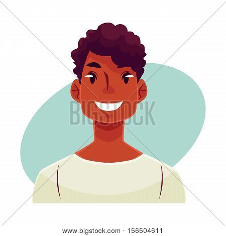 Young african man face, smiling facial expression, cartoon vector illustrations isolated on blue background Handsome boy emoji with wide smile, white teeth. Happy, glad, smiling face expression