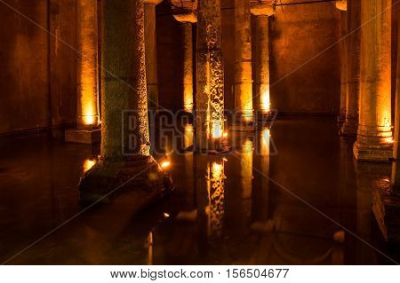 ISTANBUL TURKEY - JUNE 20 2015: The Basilica Cistern is the largest of several hundred ancient cisterns that still lie beneath the city of Istanbul former Constantinople Turkey