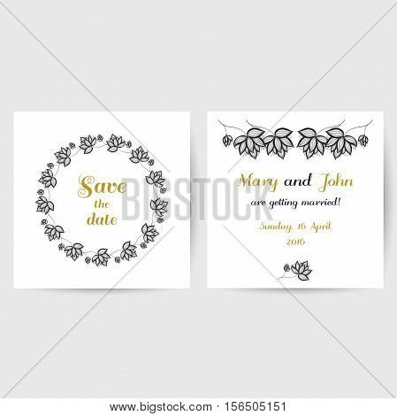 Wedding invitation with hand drawn black flowers on white background. Vector illustration.