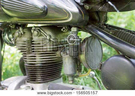 Closeup old vintage motorcycle engine. The old motor of the motorcycle