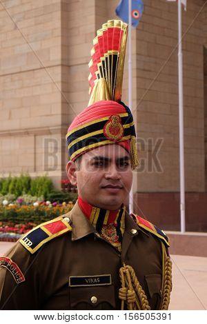 DELHI, INDIA - FEBRUARY 13: Soldier in parade uniform at The India Gate on February 13, 2016, Delhi, India.