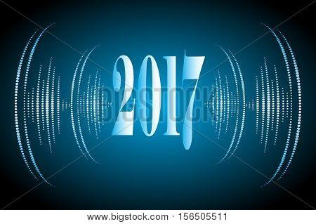 Merry Christmas and Happy New Year 2017 blue color with sound vawes illustration. Vector .Ideal for holiday greeting card or poster.