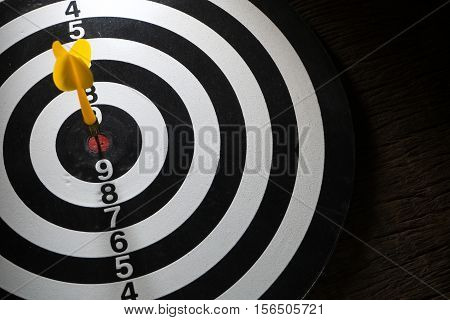 target dart board and arrow concept of successful business. Low key picture style.