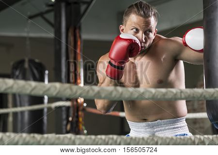 Athletic Boxer During Hard Workout