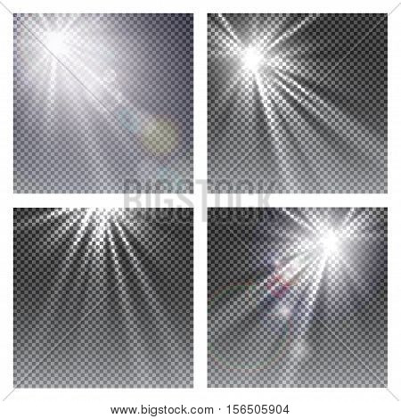 Vector transparent sunlight special lens flare light effect. Sun flash with rays and spotlight on checkered background