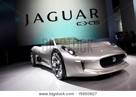 PARIS, FRANCE - SEPTEMBER 30: Paris Motor Show on September 30 in Paris, 2010, showing Jaguar C-X75, front view