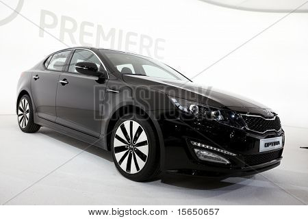 PARIS, FRANCE - SEPTEMBER 30: Paris Motor Show on September 30, 2010 in Paris, showing Kia Optima, front view