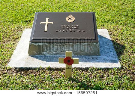 Labuan,Malaysia-Nov 14,2016:Commonwealth World War II graveyard in Labuan,Malaysia.Many of the soldier buried in this cemetery,including Australian troops,were killed during the Japanese invasion.