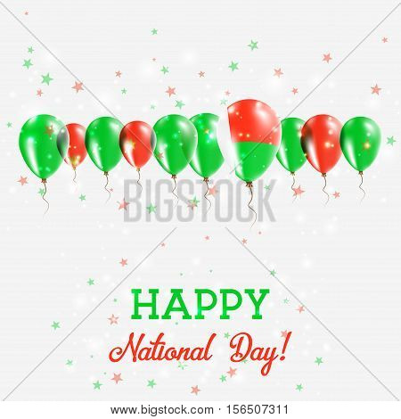 Madagascar Independence Day Sparkling Patriotic Poster. Happy Independence Day Card With Madagascar