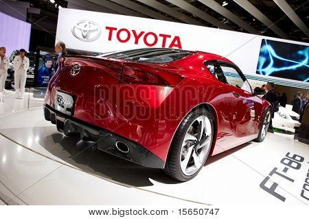 PARIS, FRANCE - SEPTEMBER 30: Paris Motor Show on September 30, 2010 in Paris, showing Toyota FT-86 Concept, rear view