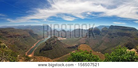 Panorama of the Blyde River Canyon and the Three Rondavels in Mpumalanga, forming the northern part of the Drakensberg escarpment.