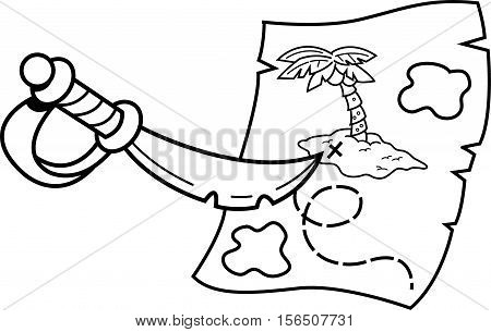 Cartoon sword pointing at a treasure map.