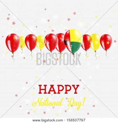 Guinea-bissau Independence Day Sparkling Patriotic Poster. Happy Independence Day Card With Guinea-b