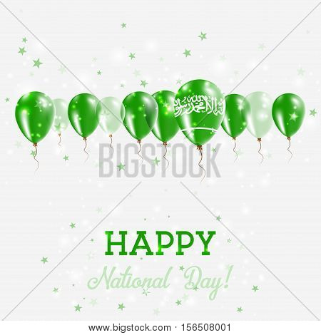 Saudi Arabia Independence Day Sparkling Patriotic Poster. Happy Independence Day Card With Saudi Ara