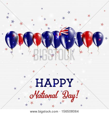 Heard And Mcdonald Islands Independence Day Sparkling Patriotic Poster. Happy Independence Day Card