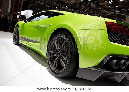 PARIS, FRANCE - SEPTEMBER 30: Paris Motor Show on September 30, 2010 in Paris, showing Lamborghini Gallardo LP560-4 Superleggera, rear closeup view