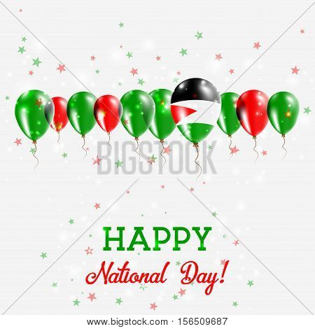 Palestine, State Of Independence Day Sparkling Patriotic Poster. Happy Independence Day Card With Pa