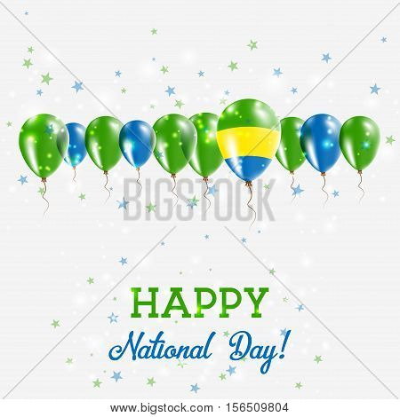 Gabon Independence Day Sparkling Patriotic Poster. Happy Independence Day Card With Gabon Flags, Con
