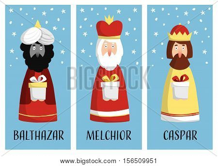 Cute set of Christmas greeting cards gift tags with three magi. Biblical kings Caspar Melchior and Balthazar. Flat design vector illustration background.