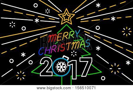 Merry Christmas and Happy New Year Neon Background