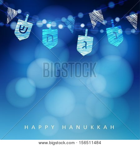 anukkah blue background with string of light and dreidels. Festive party decoration. Modern blurred vector illustration for Jewish Festival of light.