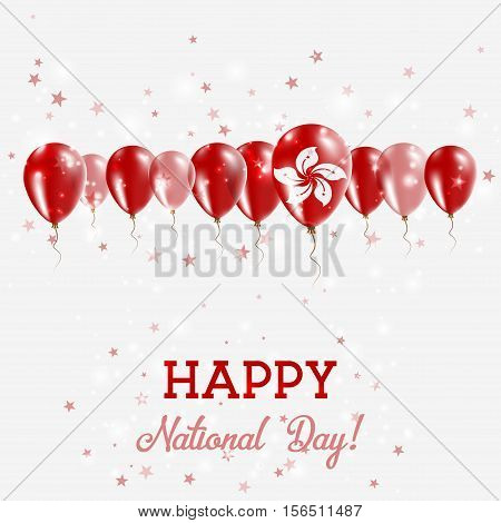 Hong Kong Independence Day Sparkling Patriotic Poster. Happy Independence Day Card With Hong Kong Fl