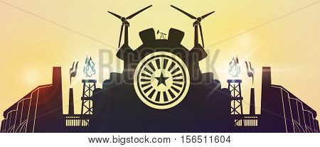 Energy and Power icons set. Header or footer banner. Sustainable energy generation and heavy industry.