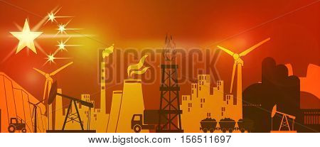 Energy and Power icons set on China flag backdrop. Header or footer banner. Sustainable energy generation and heavy industry.