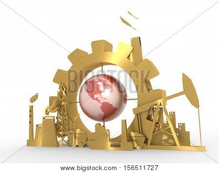 Energy and Power icons set with earth globe. Sustainable energy generation and heavy industry. 3D rendering. Golden material