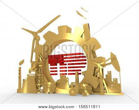 Energy and Power icons set with TTIP text. Sustainable energy generation and heavy industry. 3D rendering. Golden material