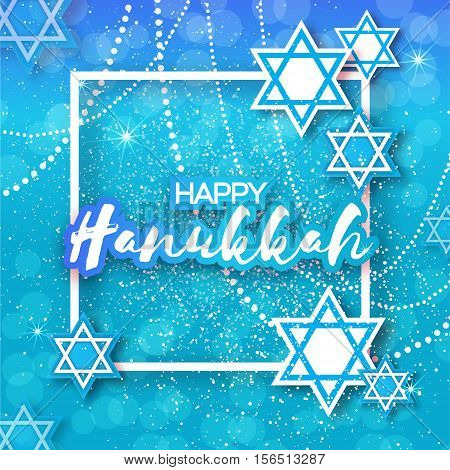 Happy Hanukkah with origami blue Magen David stars. Papercraft jewish holiday simbol on blue background with frame for text. Vector design illustration